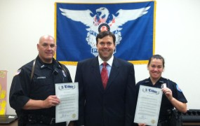 Presenting Legislative Tributes to Pensacola Police Officers Maria Landy and David Hausner